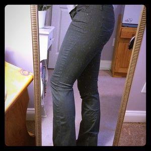 Grey bootcut stretch denim pants